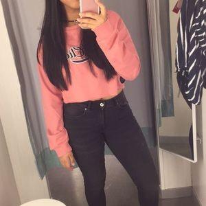 Pink Crop Top Long Sleeve